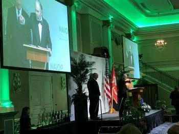 Frank Greek, president of Greek Development, speaks during NAIOP New Jersey's 32 annual Commercial Real Estate Awards gala